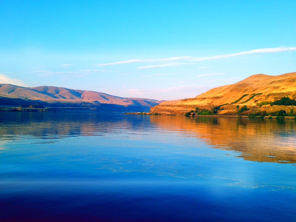 The beautiful Columbia River on a rare, calm day.