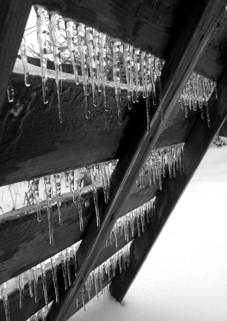 I loved seeing the tiered icicles on this play structure ladder...